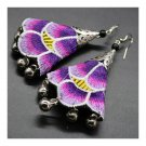 Vintage Cloth Bell Embroidery Long Earrings
