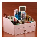Pearly Lustre Leather Mirror Comestics Storage Box    pink