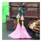 Vintage Bead Tassel Long Earrings Bridal Wedding   pink