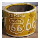 America Vintage 66 Route Car Plate Ashtray Succulent Pot     yellow