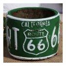 America Vintage 66 Route Car Plate Ashtray Succulent Pot     green