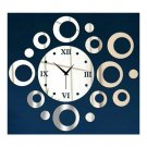 Wall Clock Sticking Decoration Circle  silver