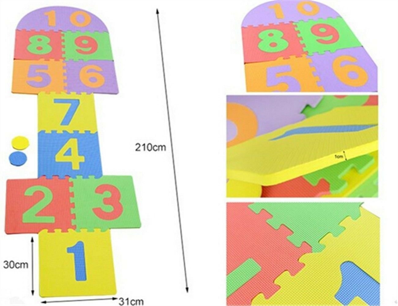 12PCS Kids Play Mat EVA Hopscotch Foam Puzzle Floor Mat