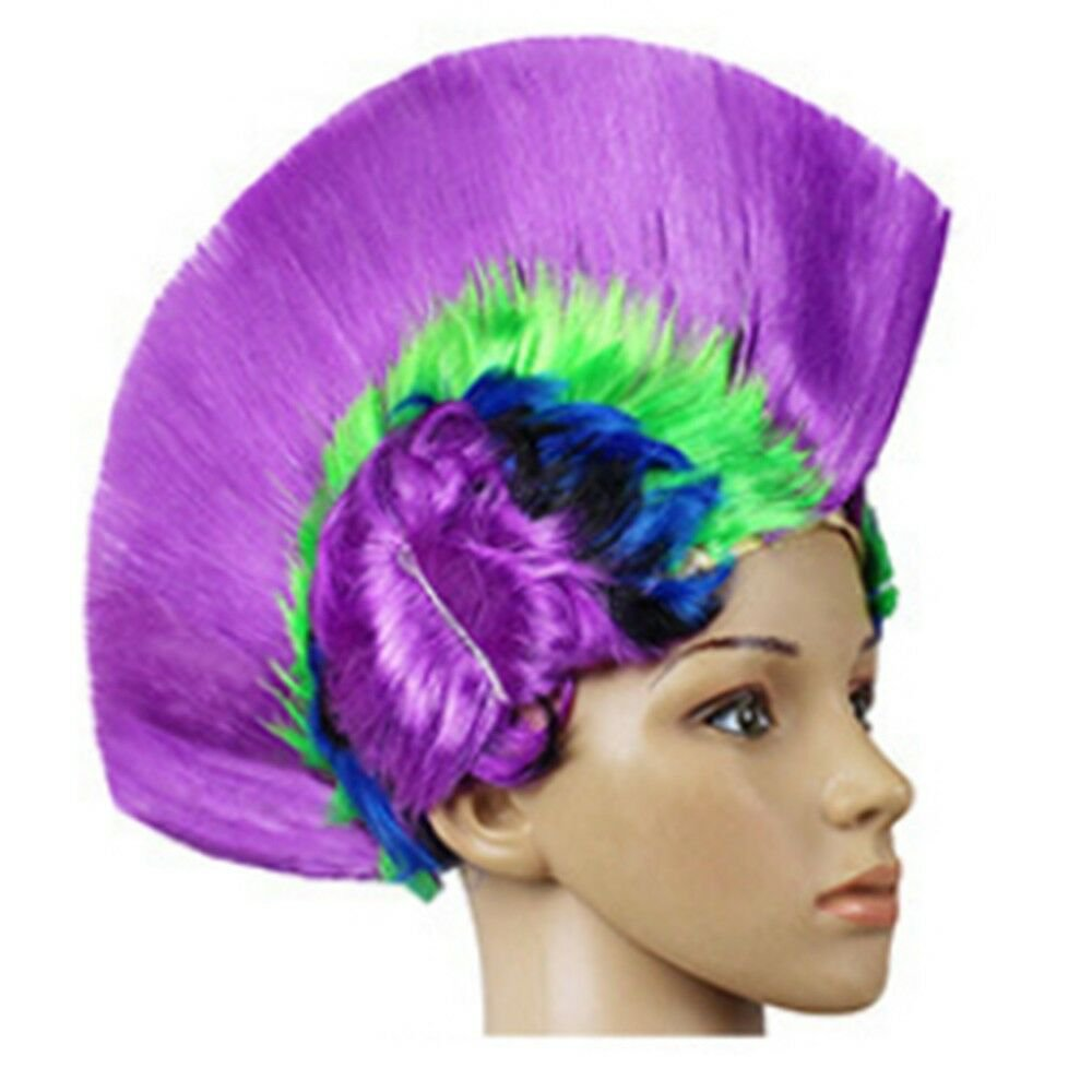 Shiny Cockscomb Hair Punk Hair Cap Bright Wig shiny rainbow purple