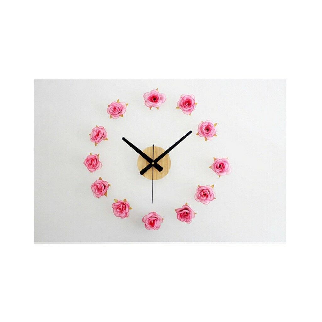 Beautiful Flower Romantic Rose DIY Clock Countryside Simple Fashionable 01