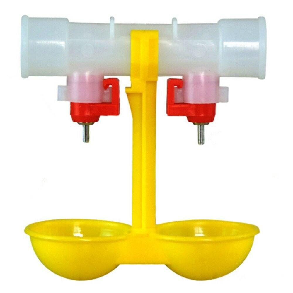 Double Nipple Chicken Cup Waterer Automatic Drinker Steel Ball