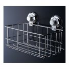 Stainless Steel Square Bathroom Storage Basket Vacuum Suction Cup Hook Holder