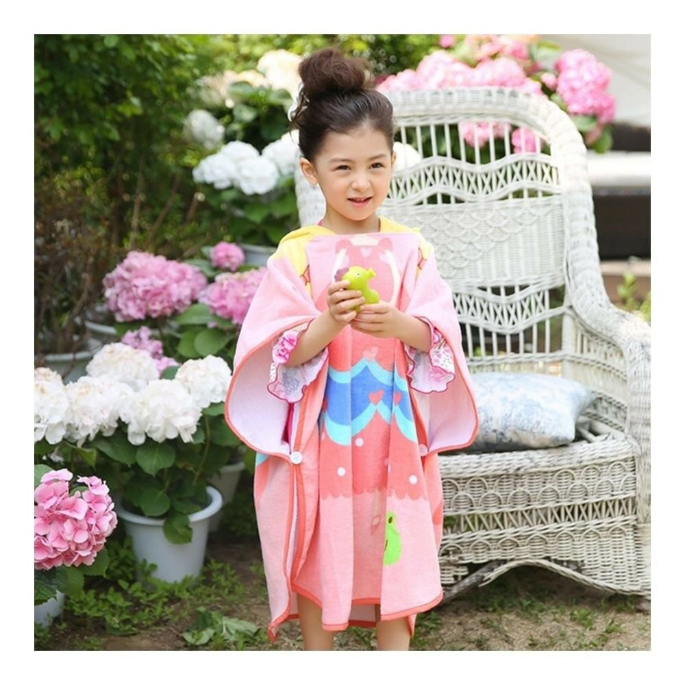 Bathrobe Child Cartoon Bath Beach Towel Long     butterfly princess