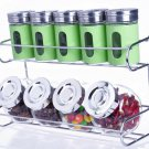 Metal & Glass Spice Shakers Glass Jars 9 Canister 2 Tier Wire Rack Display