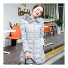 Winter Woman Down Coat Fur Collar Thick Warm Middle Longight grey