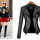Short-necked PU leather jacket and leather jacket for women