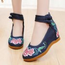 Vintage Chinese Ethnic Embroidery high Heel Elevator Dancing Shoes Hibiscus