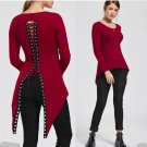 Red Blue Black Victorian Gothic Punk Asymmetrical Lace Corset Back Jersey Top