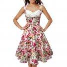 Printing Dress Sleeveless Slim Big Peplum   pink