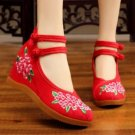 Vintage Chinese Ethnic Embroidery high Heel Elevator  Dancing Shoes Bouquet