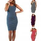 Stripe Maternity Cozy Nursing Casual Dress Plus Size