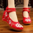 Vintage Chinese Ethnic Embroidery high Heel Elevator  Dancing Shoes Blossom