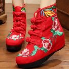 Four Shoelace Vintage Beijing Cloth Shoes Embroidered Boots  red with cotton  35