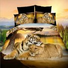 3D Flower Queen King Size Bed Quilt/Duvet Sheet Cover 4PC Set Tiger and Lion