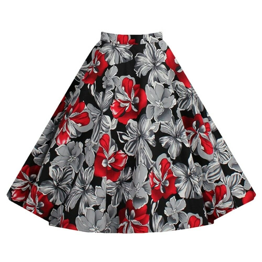 Hepburn Style Vintage Bubble Skirt A-line Pleated Skirt  red