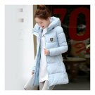 Super Long Down Coat Woman Thick Fashionable Thick   water blue