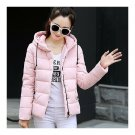 Winter Hooded Down Coat Woman Short Preppy Style Loose    pink