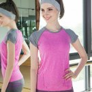 Hot Girl Women Sport Yoga Top running Shirts Breathable Material Pink