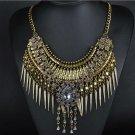 European Exaggerated Big Brand Foreign Trade Necklace Vintage Zircon Flower Tass