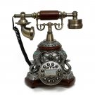 Vintage Antique Retro Caller ID Handset Desk wood Telephone Hand-free Elephants