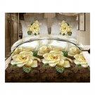 3D Flower Bed Quilt/Duvet Sheet Cover 4PC Set Cotton Sanded 014