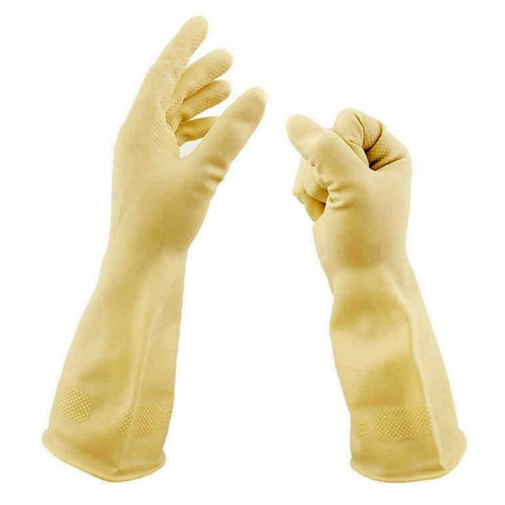 50cm medium thick Acid and Alkali Resistant Latex Gloves Work Protection   yello