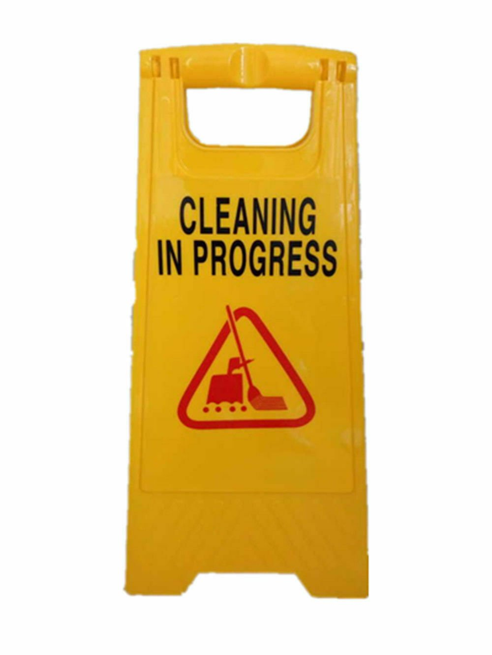 Caution Cleaning IN Progress Double Side Warning Board Bright Yellow Plastic