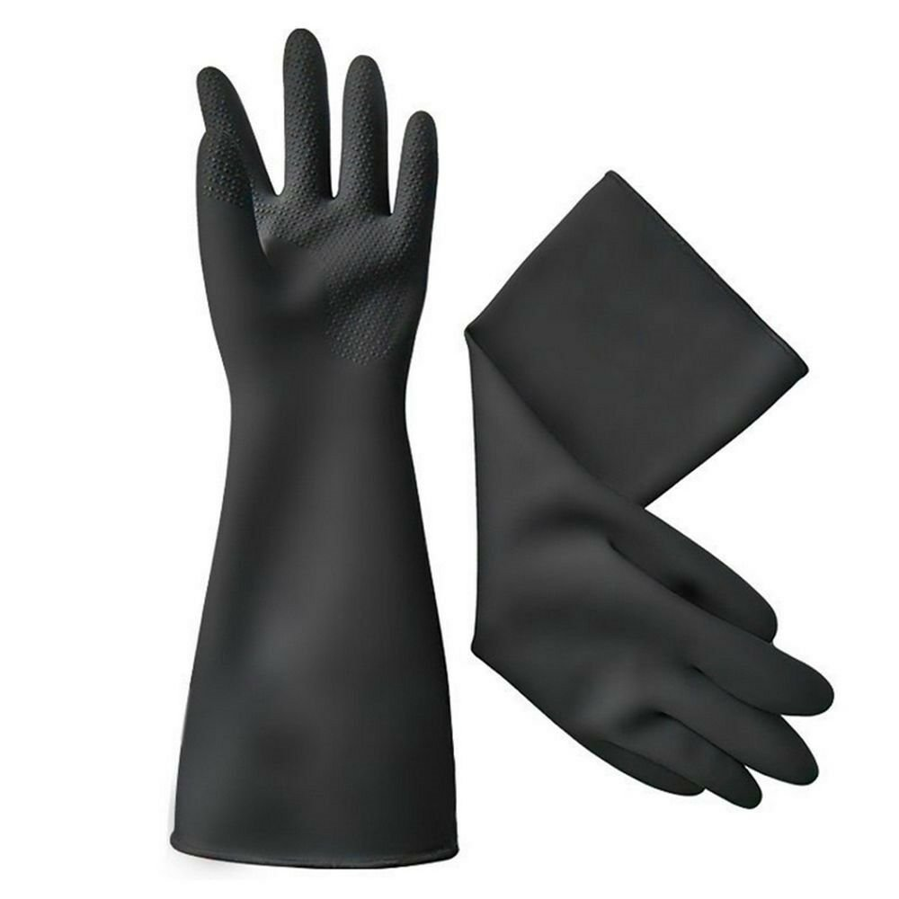 40cm medium thick Acid and Alkali Resistant Latex Gloves Work Protection   black