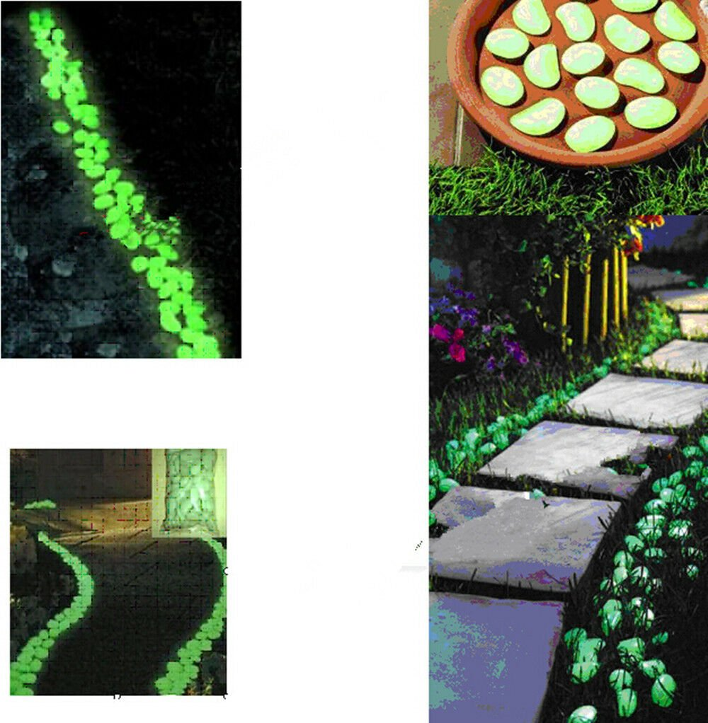 100pcs Hot Man-Made Glow in the Dark Pebbles Stone for Garden Walkway  Light Red