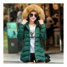 Woman Middle Long Slim Cotton Coat   green