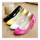 Candy's Color Bowknot Patent Leather Hollow Slipsole Women Thin Shoes