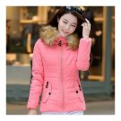 Winter Woman Slim Hoodied Cotton Coat   pink   S