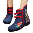 Vintage Beijing Cloth Shoes Embroidered Boots 12-01   blue with cotton  35