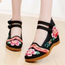 Vintage Chinese Ethnic Embroidery high Heel Elevator  Dancing Shoes Flower Lace