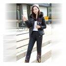 Winter Slim Suit Down Coat Woman Fur Collar Cotton Trousers    black