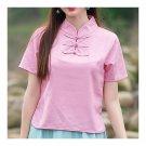 Plate Button Splicing Stand Collar Short Sleeve T-shirt   pink