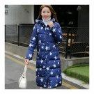Beautiful Down Coat Long Thick Printing Woman Cotton Coat long sleeve blue