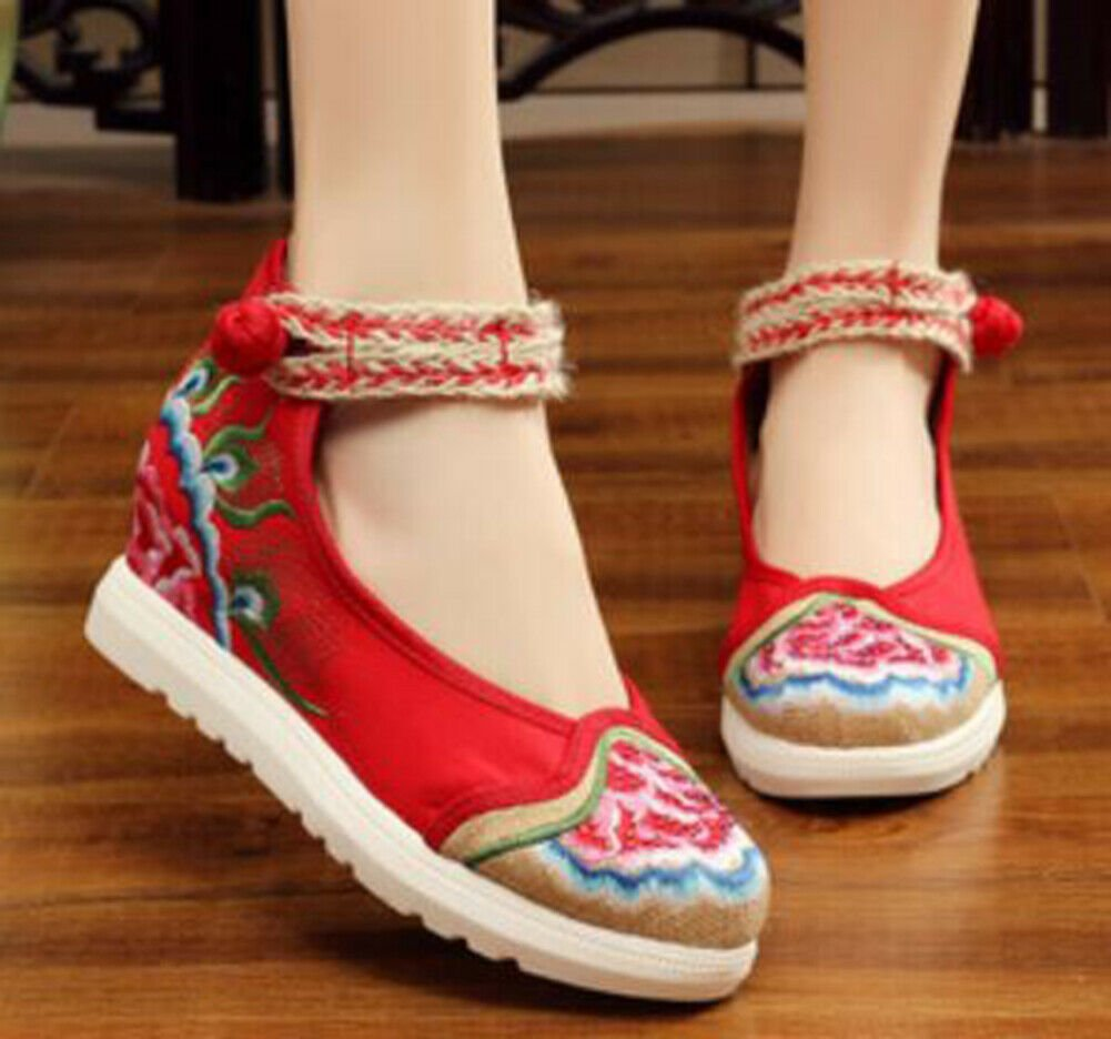 Chinese Ethnic Embroidery Inner high Heel Elevator  Dress Shoes Vintage Flower