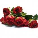 10pcs European Style Vivid Bridal Wedding Artifical Flowers rose Bouquet