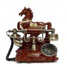Vintage Antique Retro Caller ID Handset Desk Jade Telephone Hand free Horse Bro