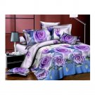 3D Flower Bed Quilt/Duvet Sheet Cover 4PC Set Cotton Sanded 008