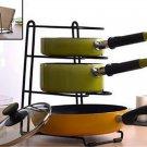 3 Slots Pan Stand Dish Rack Pot Holder Cookware Organizer