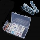 Portable Plastic 28 Slots Nail Art Tools Jewelry Storage Box Case Organizer