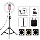 10 inch USB video ring light with 110cm lamp holder and double phone clip for live broadcast