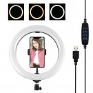 10-inch 3200K-6500K dimmable LED video ring light with phone clip for live selfie